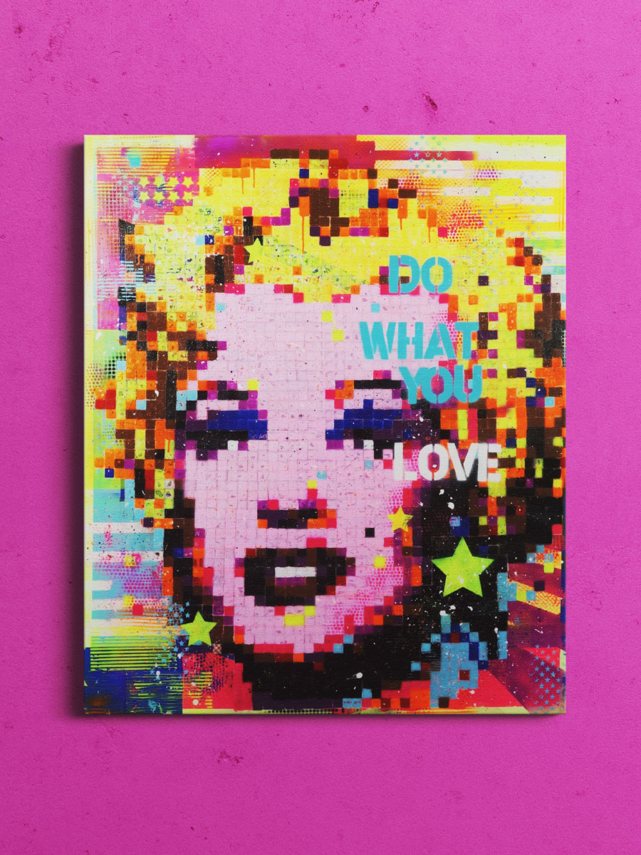 Abstraktes Portrait von Marylin Monroe in Pixel Art
