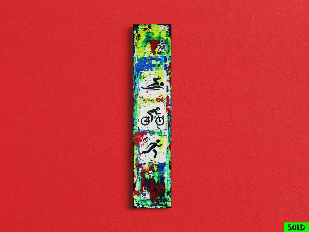 Abstraktes Gemaelde mit den Disziplinen Schwimmen, Radfahren, Laufen